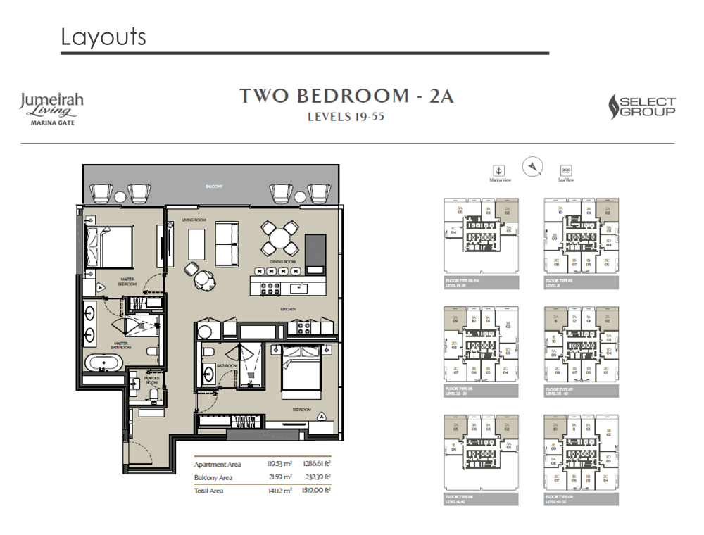 2 Bedroom Apartment Type 2A, Size 1519    sq. ft.