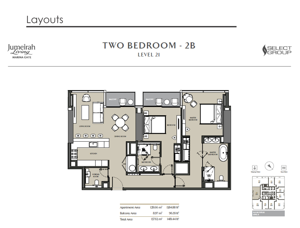 2 Bedroom Apartment Type 2B, Size 1481    sq. ft.