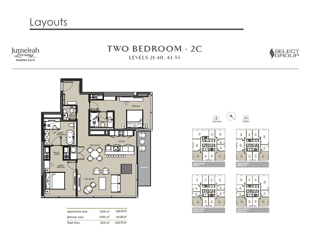 2 Bedroom Apartment Type 2C, Size 1432    sq. ft.