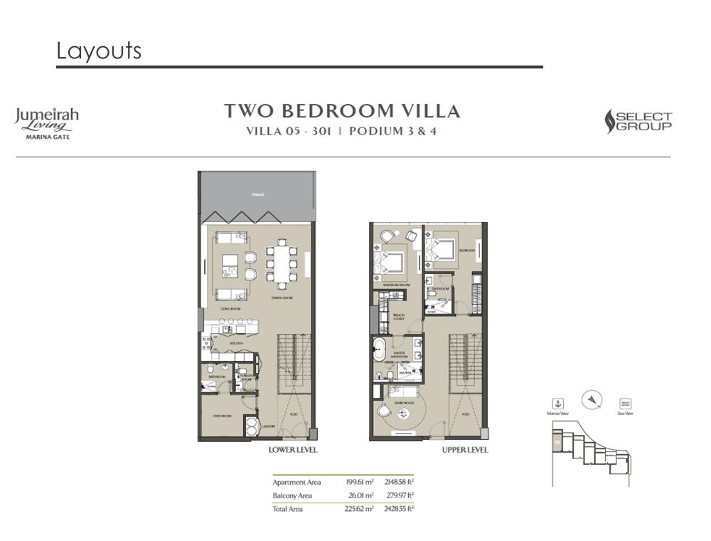 2 Bedroom Villa Type 05, Size 2428    sq. ft.