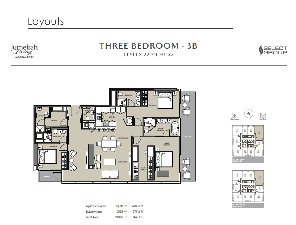 3 Bedroom Apartment Type 3B, Size 2146    sq. ft.