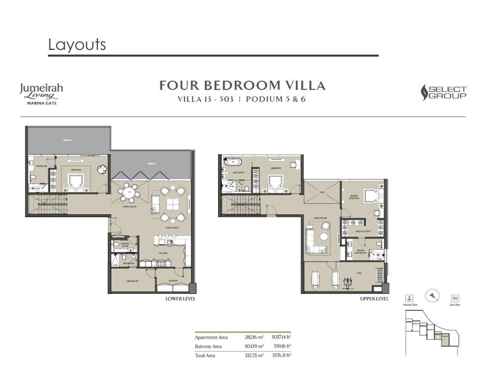 4 Bedroom Villa Type 13, Size 3576    sq. ft.