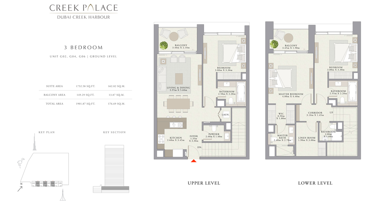 3 Bedroom Apartment, Size 1901    sq. ft.