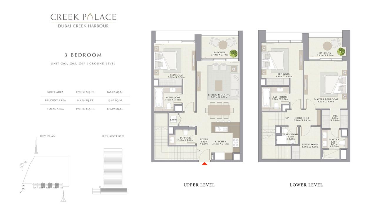 3 Bedroom Apartment Unit G03, G05, G07, Size 1901    sq. ft.