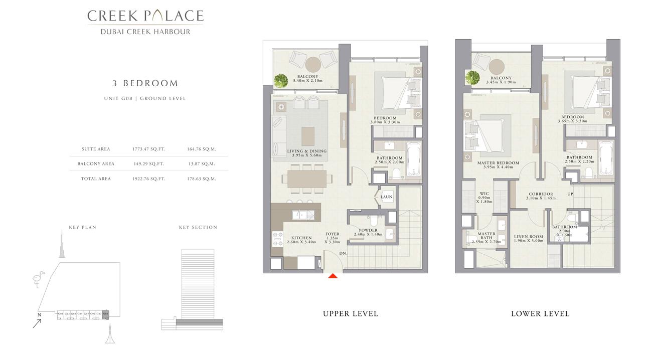 3 Bedroom Apartment Unit G08, Size 1922    sq. ft.