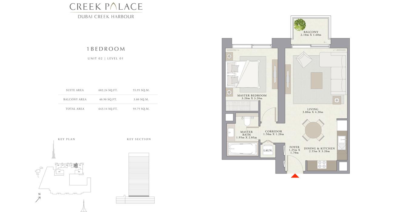 1 Bedroom Apartment Unit 02, Size 643    sq. ft.