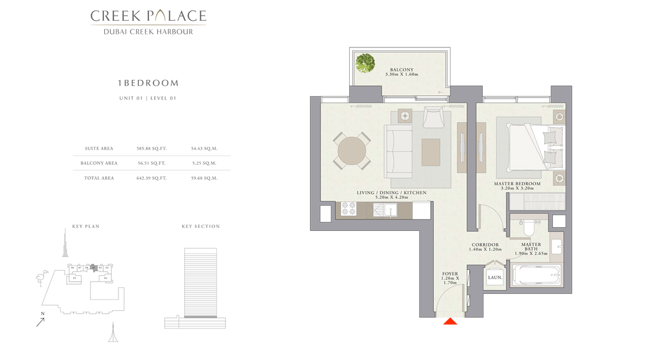 1 Bedroom Apartment, Size 642    sq. ft.