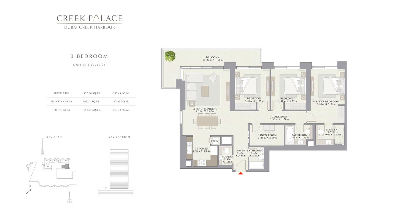 3 Bedroom Apartment Unit 04, Size 1651    sq. ft.