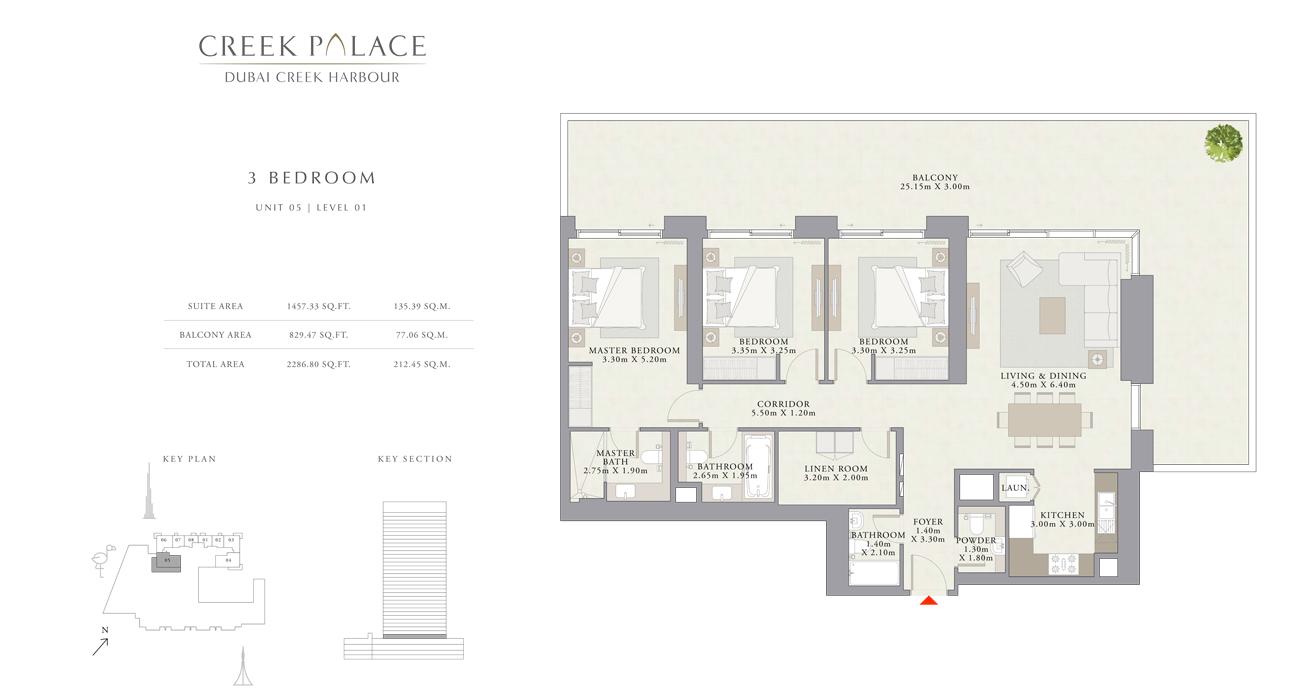 3 Bedroom Apartment Unit 05, Size 2286    sq. ft.