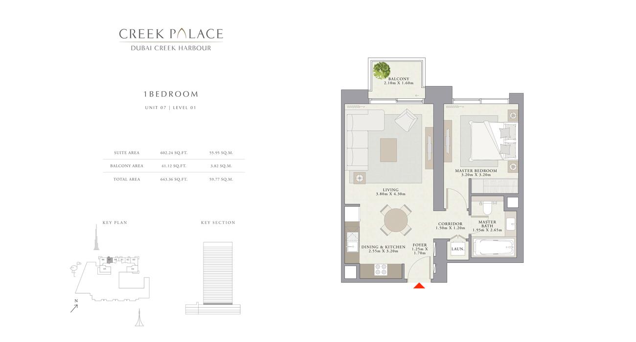1 Bedroom Apartment Unit 07, Size 643    sq. ft.