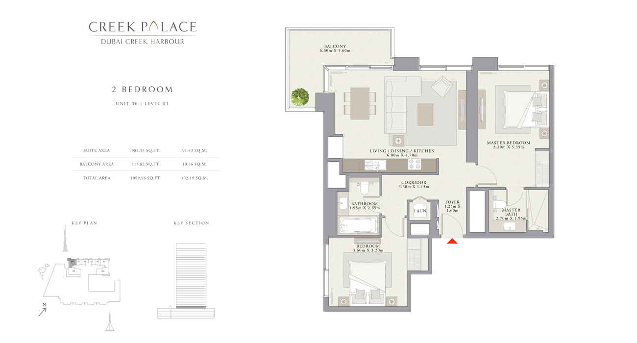 2 Bedroom Apartment Unit 06, Size 1099    sq. ft.