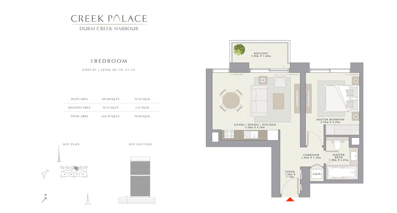 1 Bedroom Apartment Unit 01, Size 642    sq. ft.