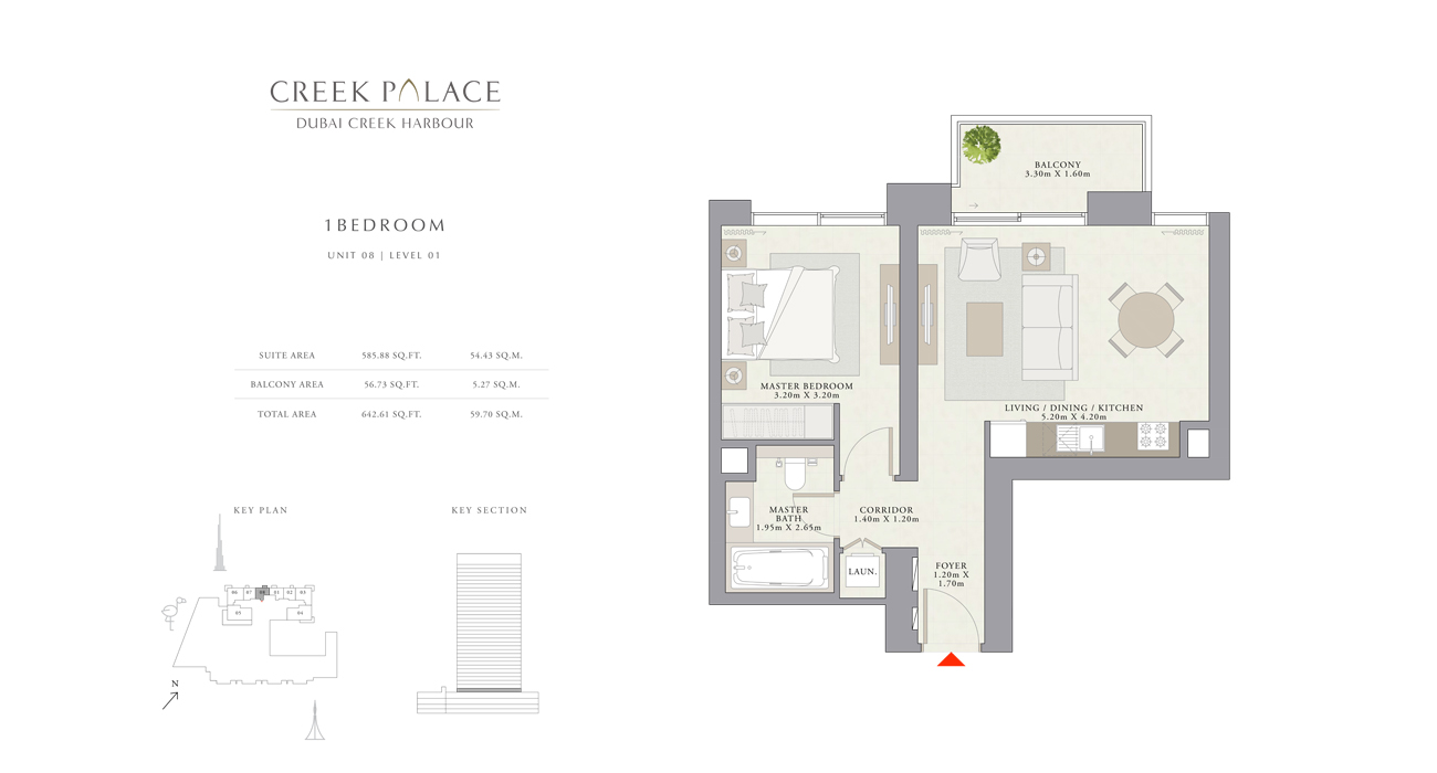 1 Bedroom Apartment Unit 08, Size 642    sq. ft.