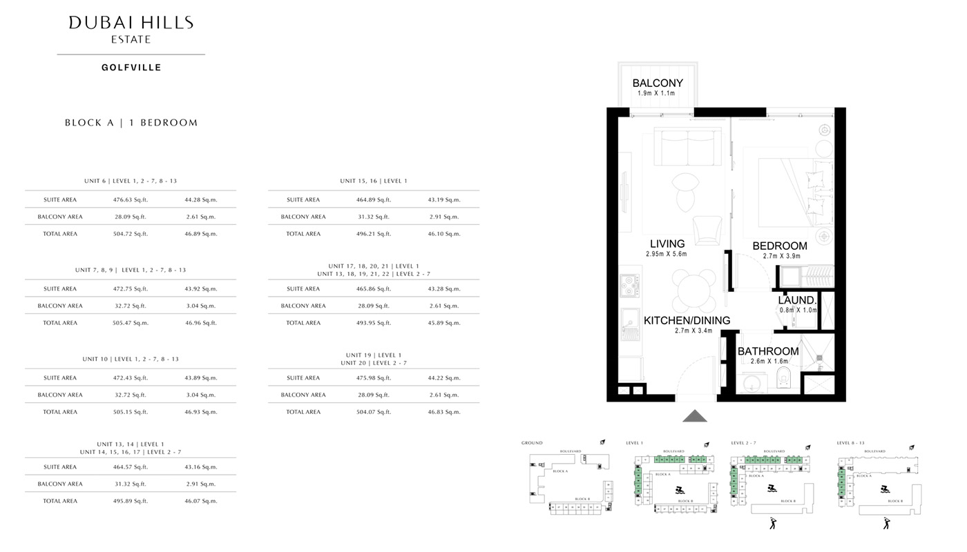 1 Bedroom Type E, Floor 2nd to 12th, Size 706.33 sq.ft.