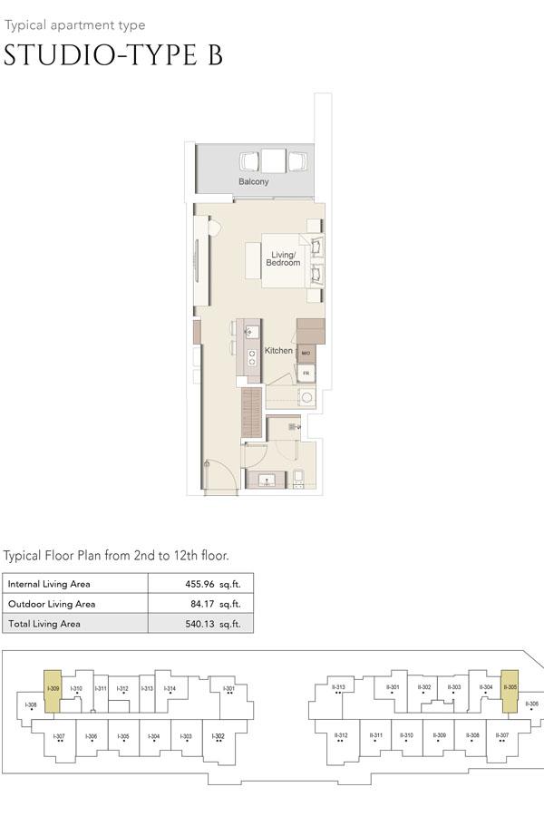 Studio-Type B, Size 540 Sq Ft