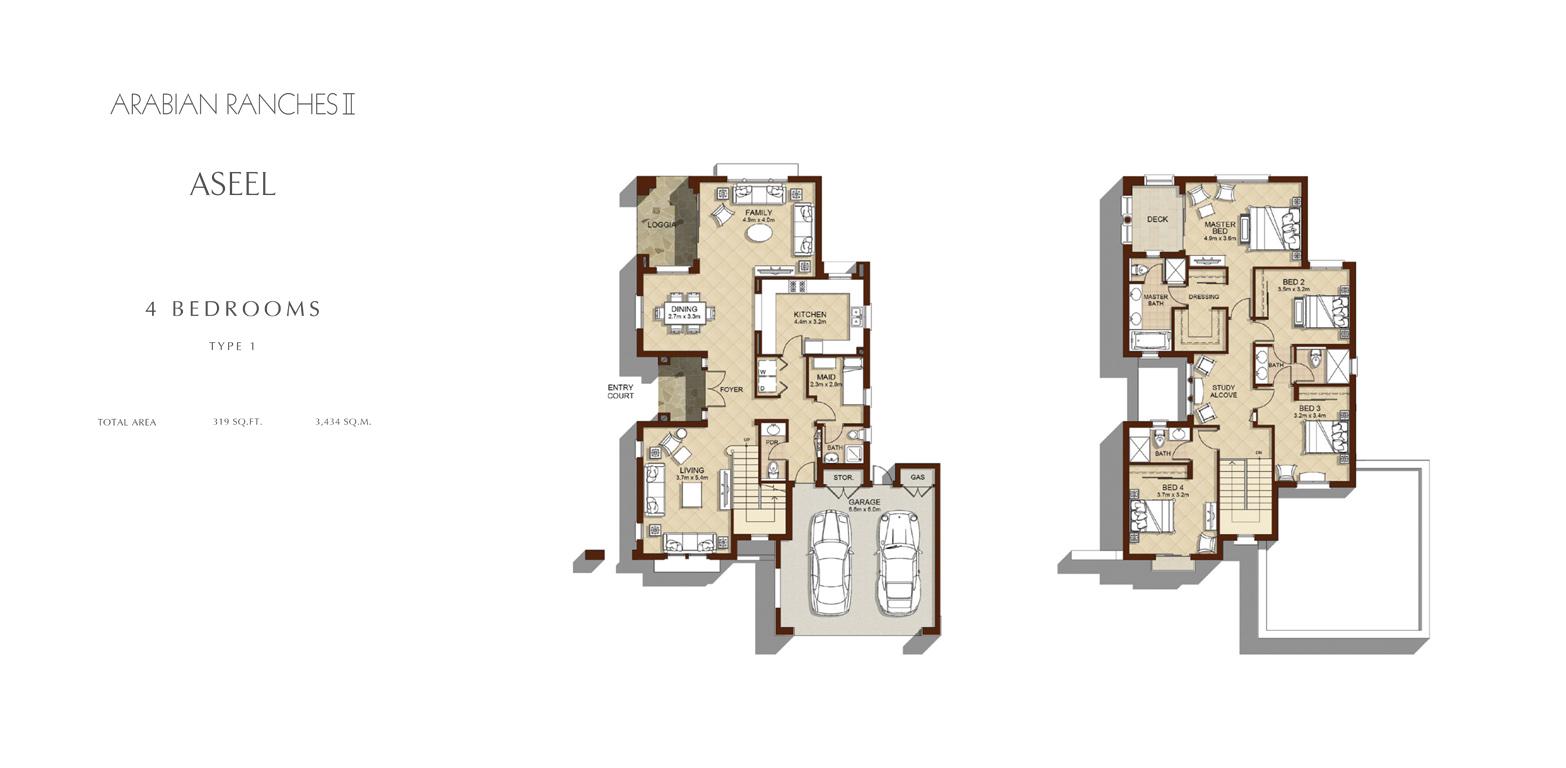 4 Bedroom - Type 1, Size 3434    sq. ft.