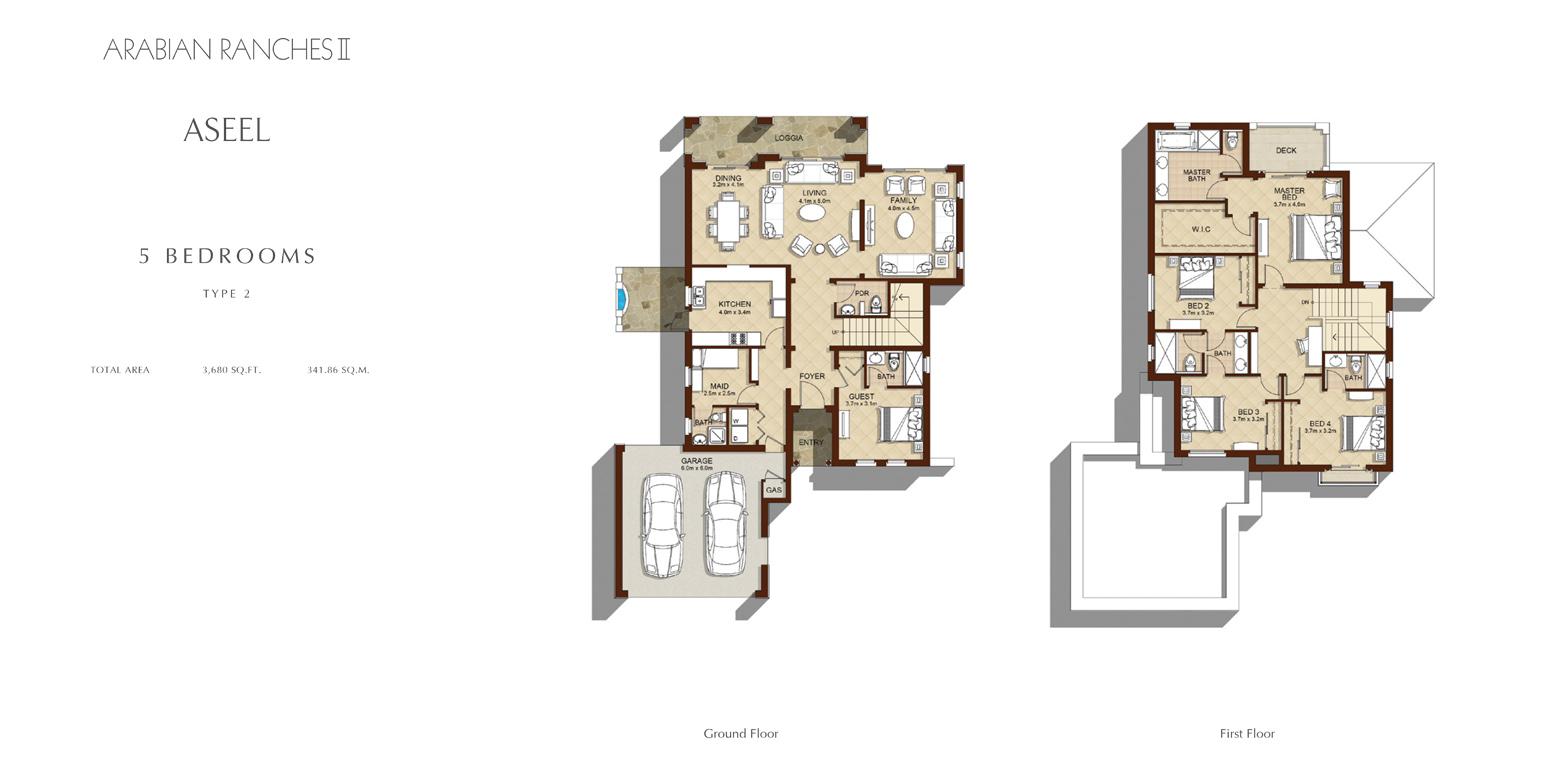 5 Bedroom - Type 2, Size 3680    sq. ft.