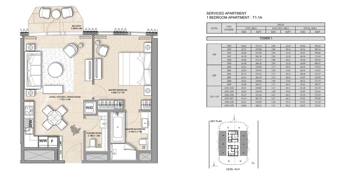 1 Bedroom Serviced Apartment Type 1-1A