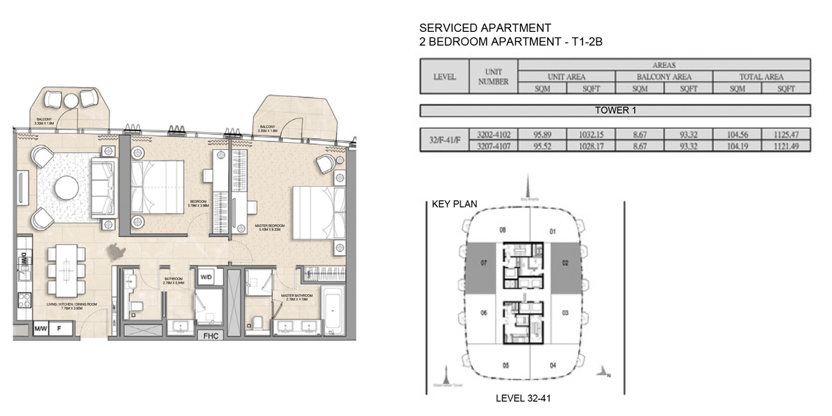 2 Bedroom Serviced Apartment Type 1-2B