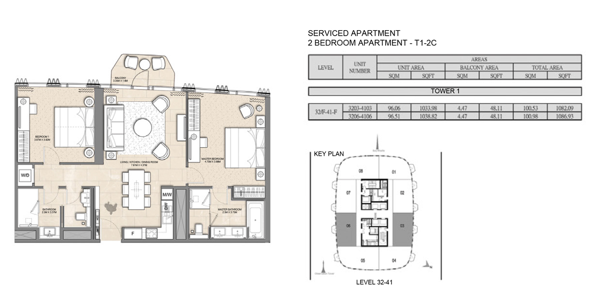 2 Bedroom Serviced Apartment Type 1-2C