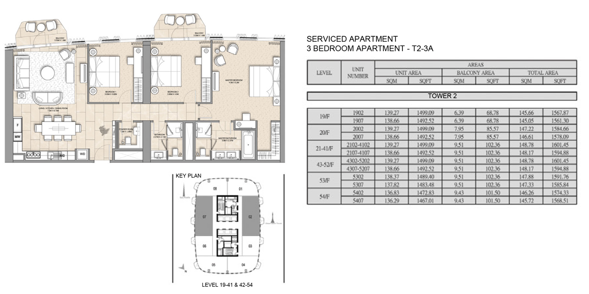 3 Bedroom Serviced Apartment Type 2-3A