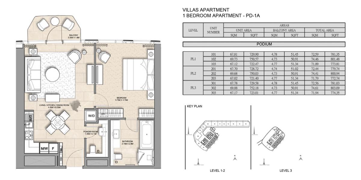 1 Bedroom Villa Apartment PD-1A