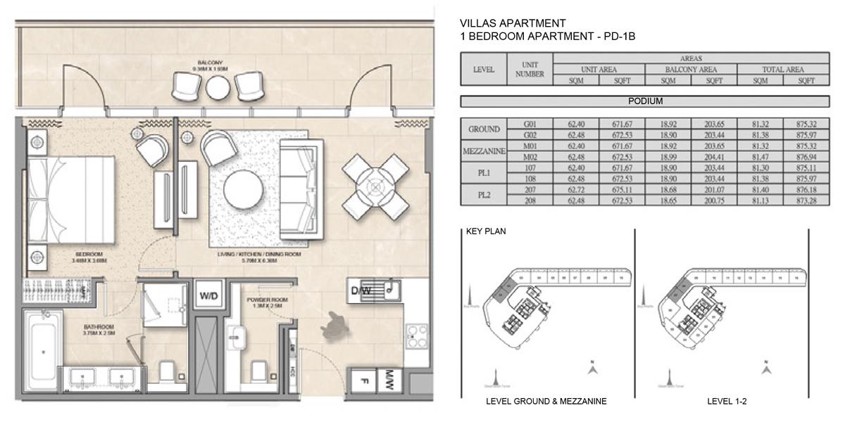 1 Bedroom Villa Apartment PD-1B