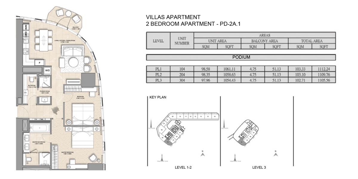 2 Bedroom Villa Apartment PD-2A-1