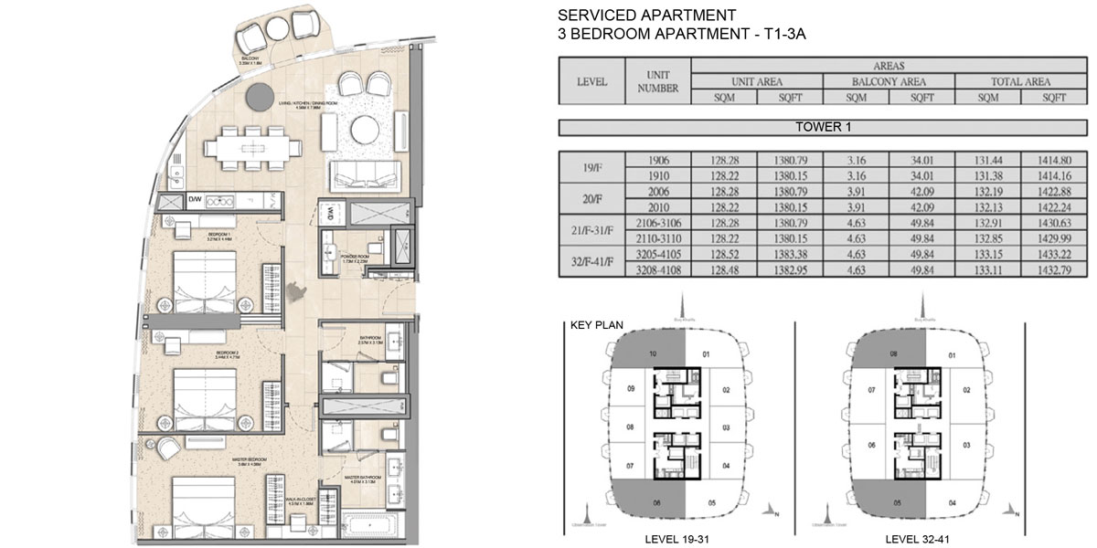 3 Bedroom Serviced Apartment Type T1 3A