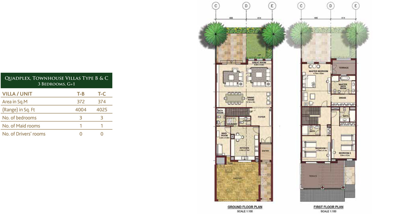 Bloom gardens phase 3 eastern corniche abu dhabi for Quadplex plans
