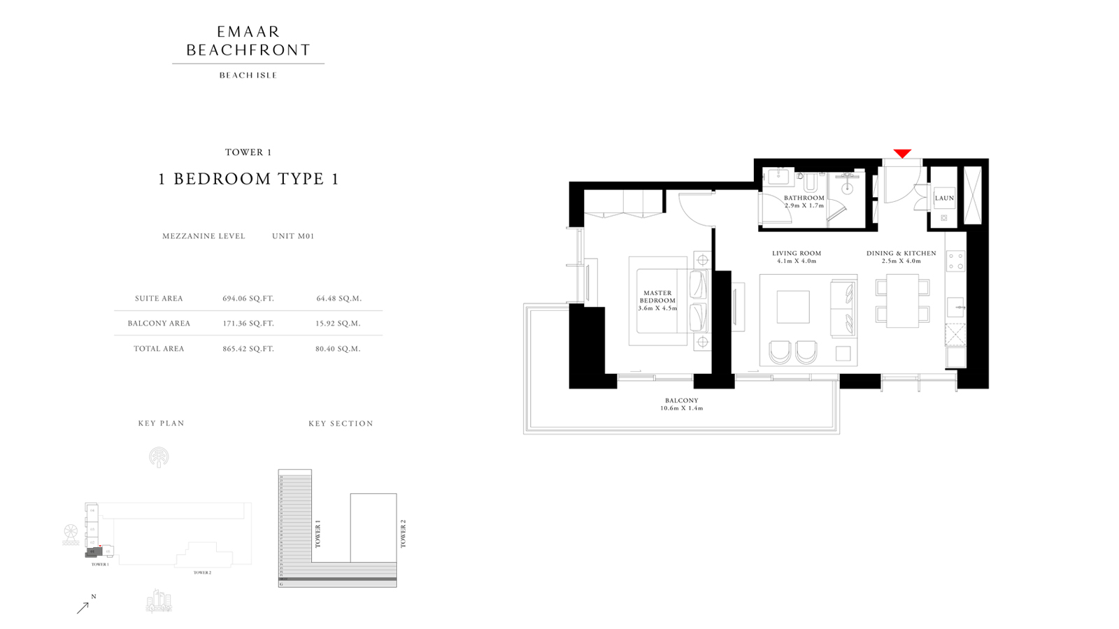 1 Bedroom Type 1 Tower 1, Size 865    sq. ft.
