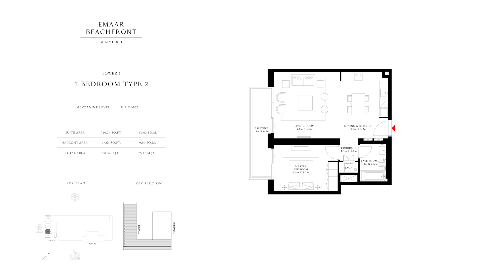1 Bedroom Type 2 Tower 1, Size 808    sq. ft.