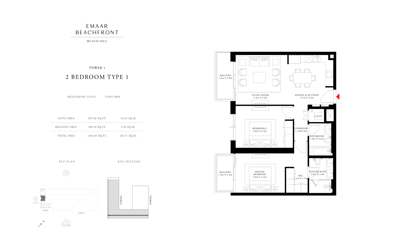 2 Bedroom Type 1 Tower 1, Size 1104    sq. ft.
