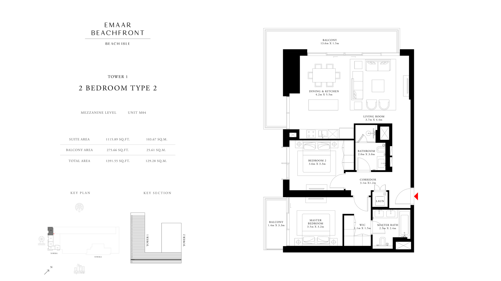 2 Bedroom Type 2 Tower 1, Size 1391    sq. ft.