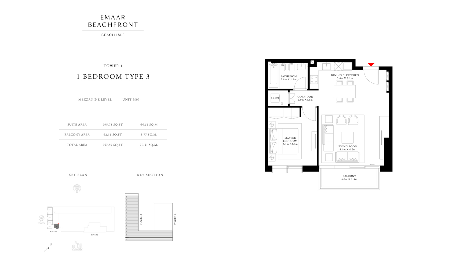 1 Bedroom Type 3 Tower 1, Size 757    sq. ft.