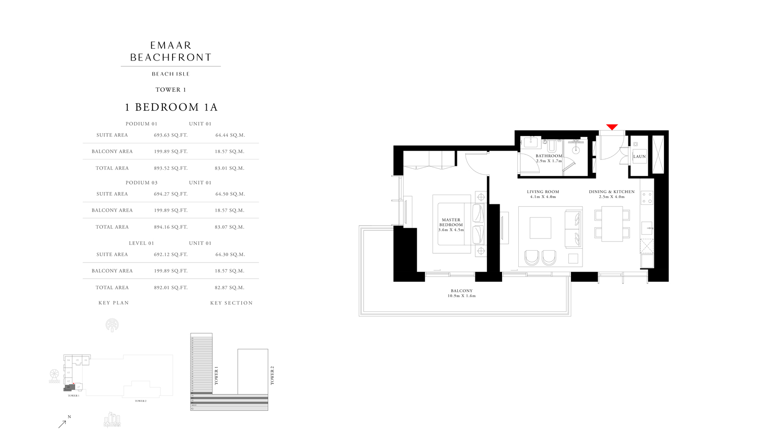 1 Bedroom 1A Tower 1, Size 892 sq f