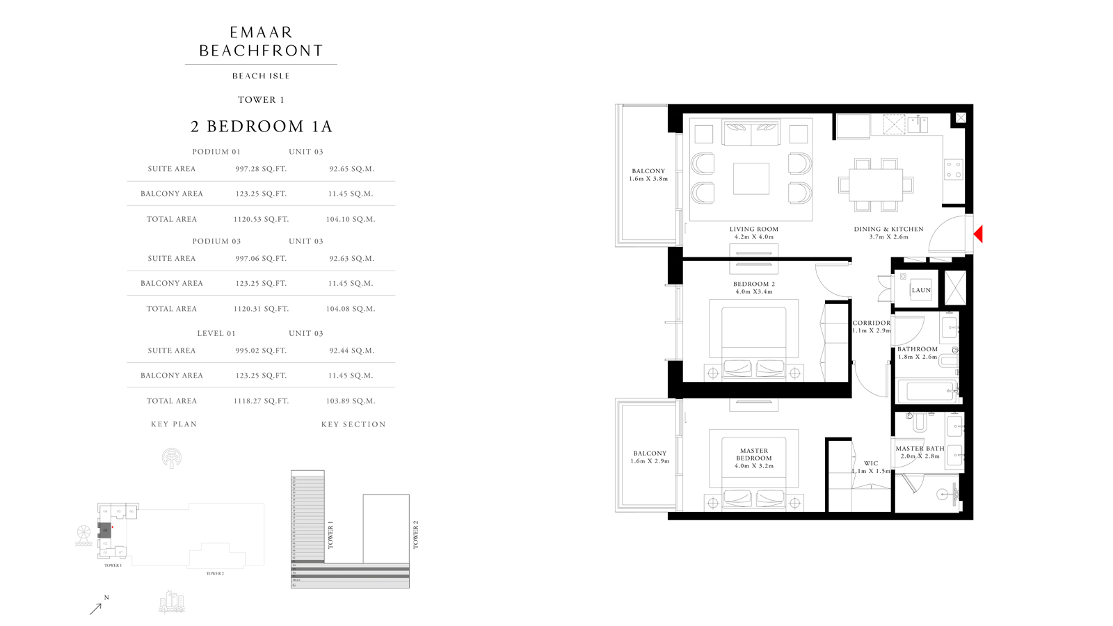 2 Bedroom 1A Tower 1, Size 1118    sq. ft.