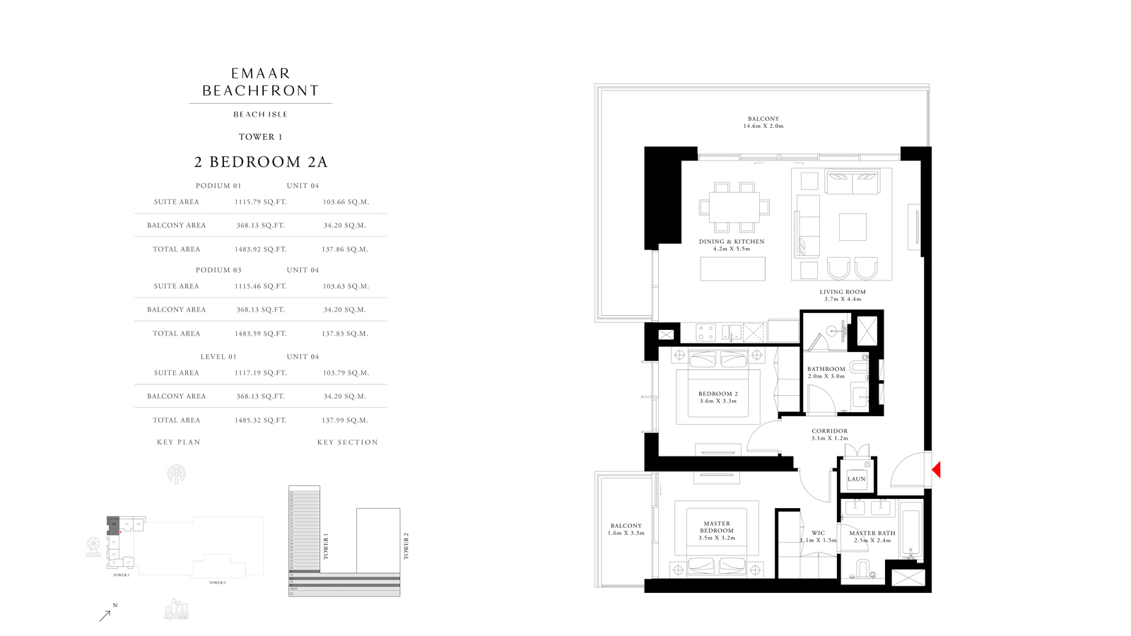 2 Bedroom 2A Tower 1, Size 1485    sq. ft.