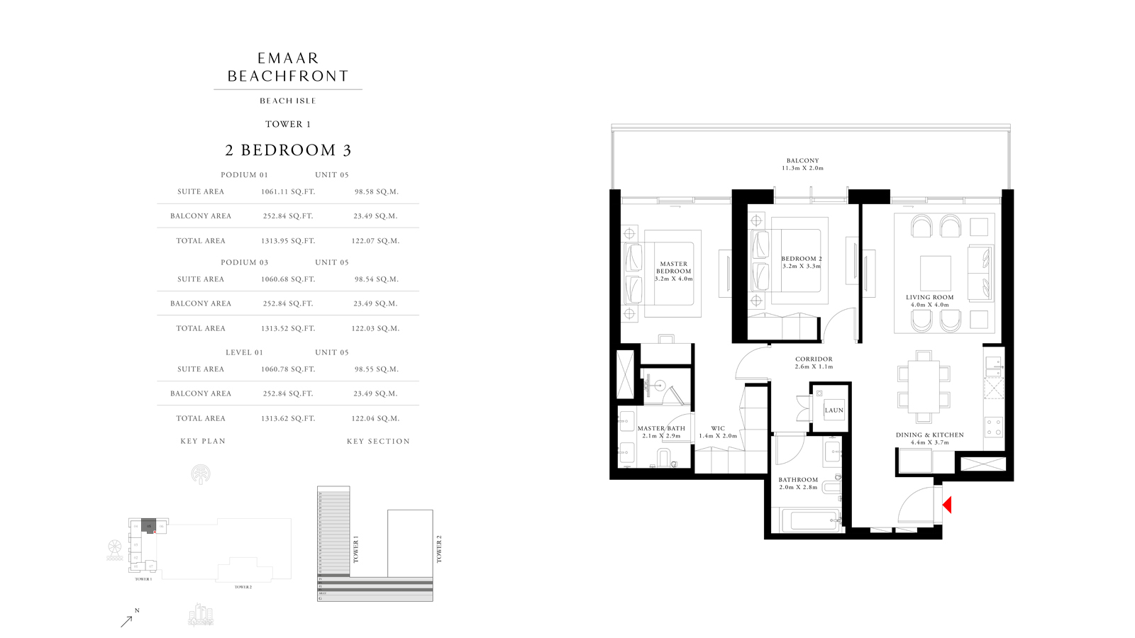 2 Bedroom 3 Tower 1, Size 1313    sq. ft.