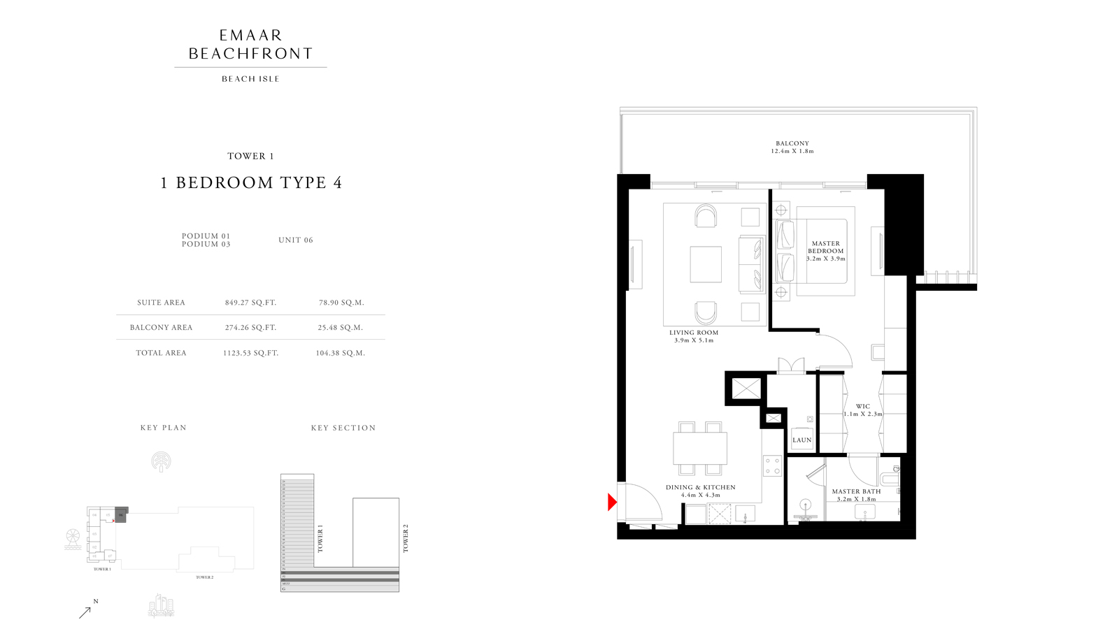 1 Bedroom Type 4 Tower 1, Size 1123    sq. ft.