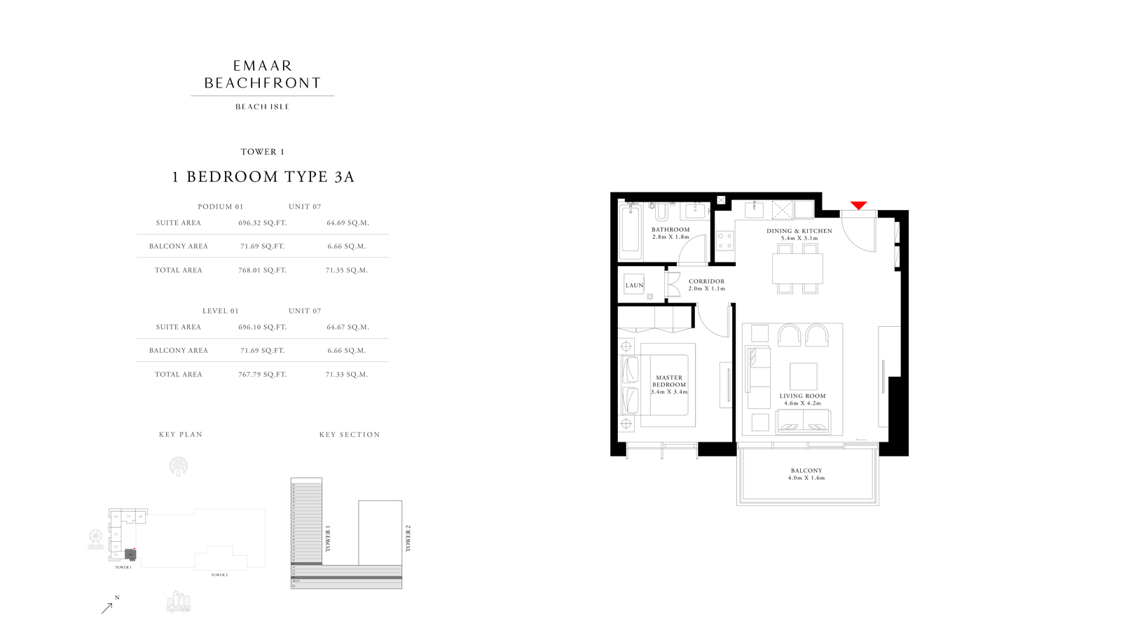1 Bedroom Type 3A Tower 1, Size 768    sq. ft.
