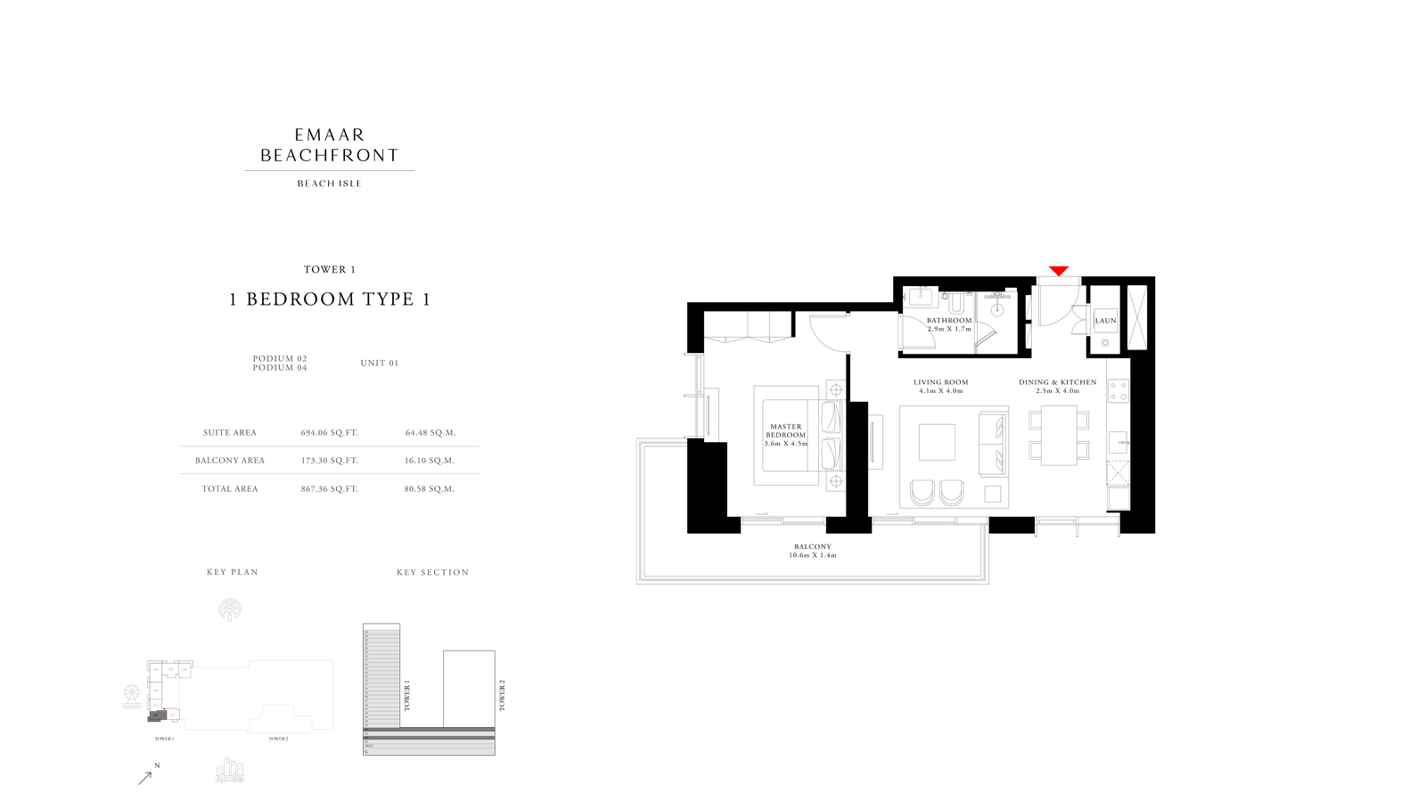 1 Bedroom Type 1 Tower 1, Size 867    sq. ft.