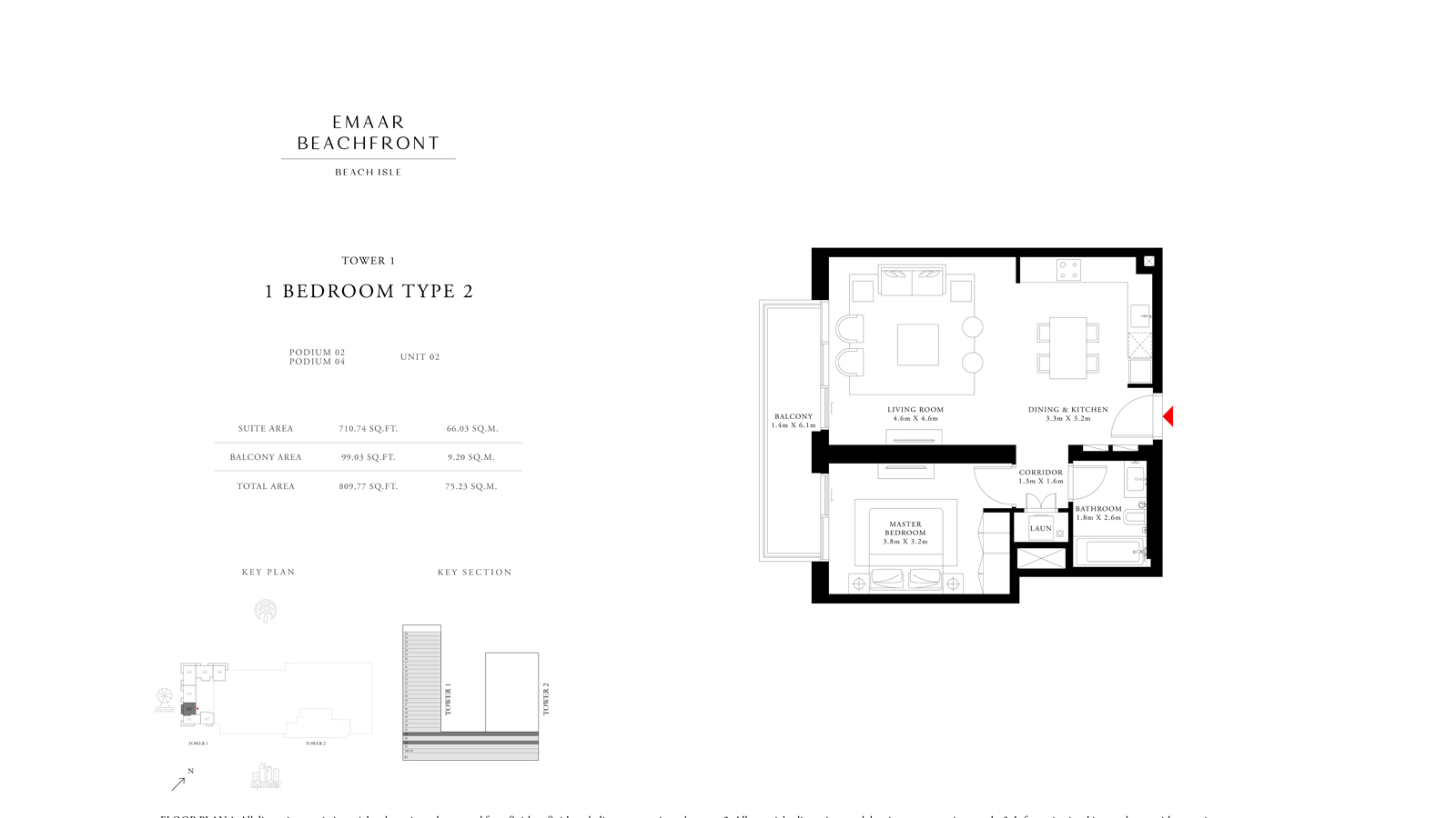 1 Bedroom Type 2 Tower 1, Size 809    sq. ft.