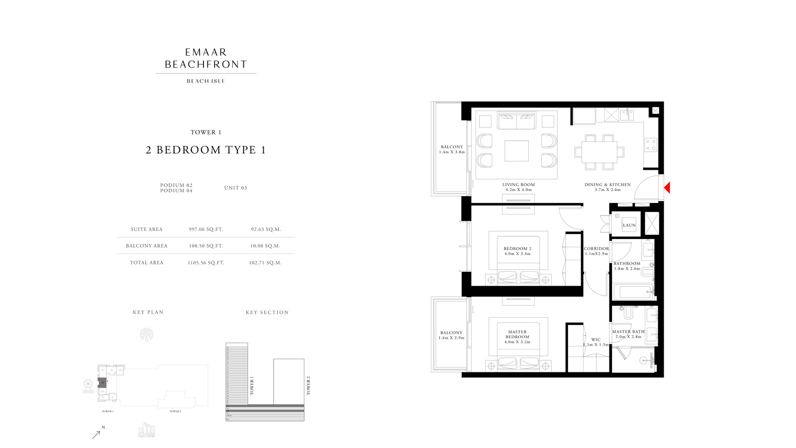 2 Bedroom Type 1 Tower 1, Size 1105    sq. ft.