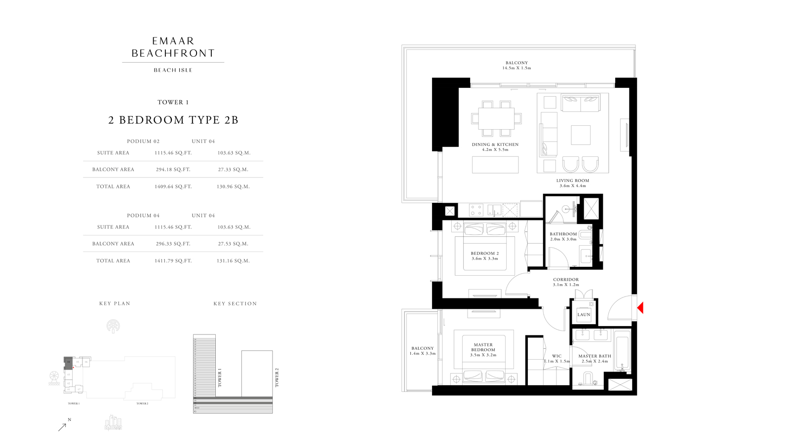 2 Bedroom Type 2B Tower 1, Size 1411    sq. ft.