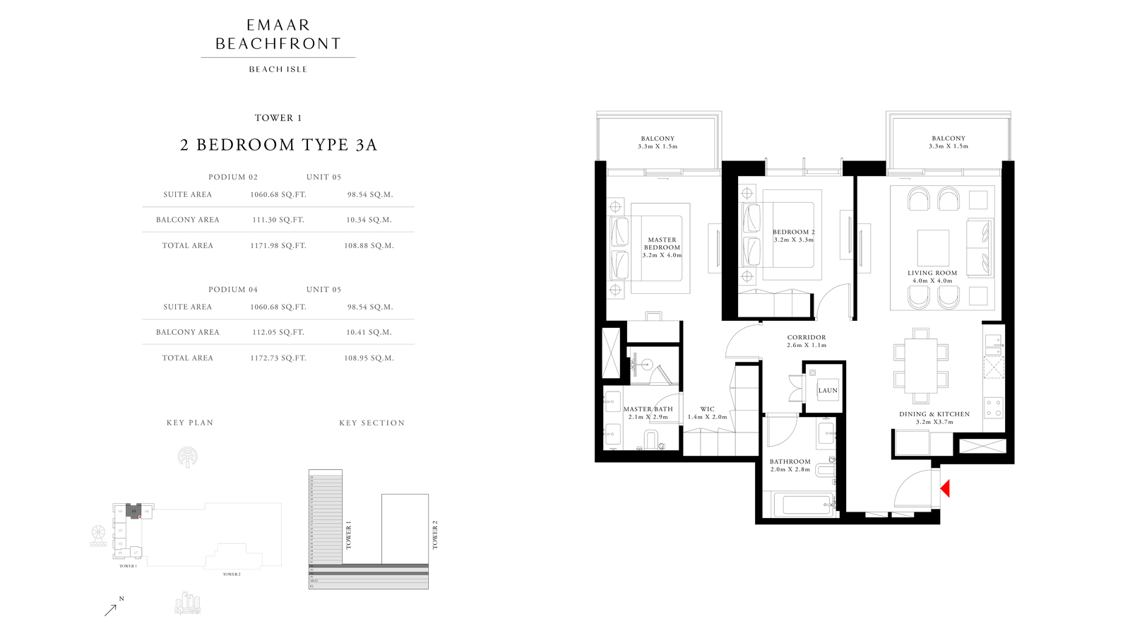 2 Bedroom Type 3A Tower 1, Size 1172    sq. ft.