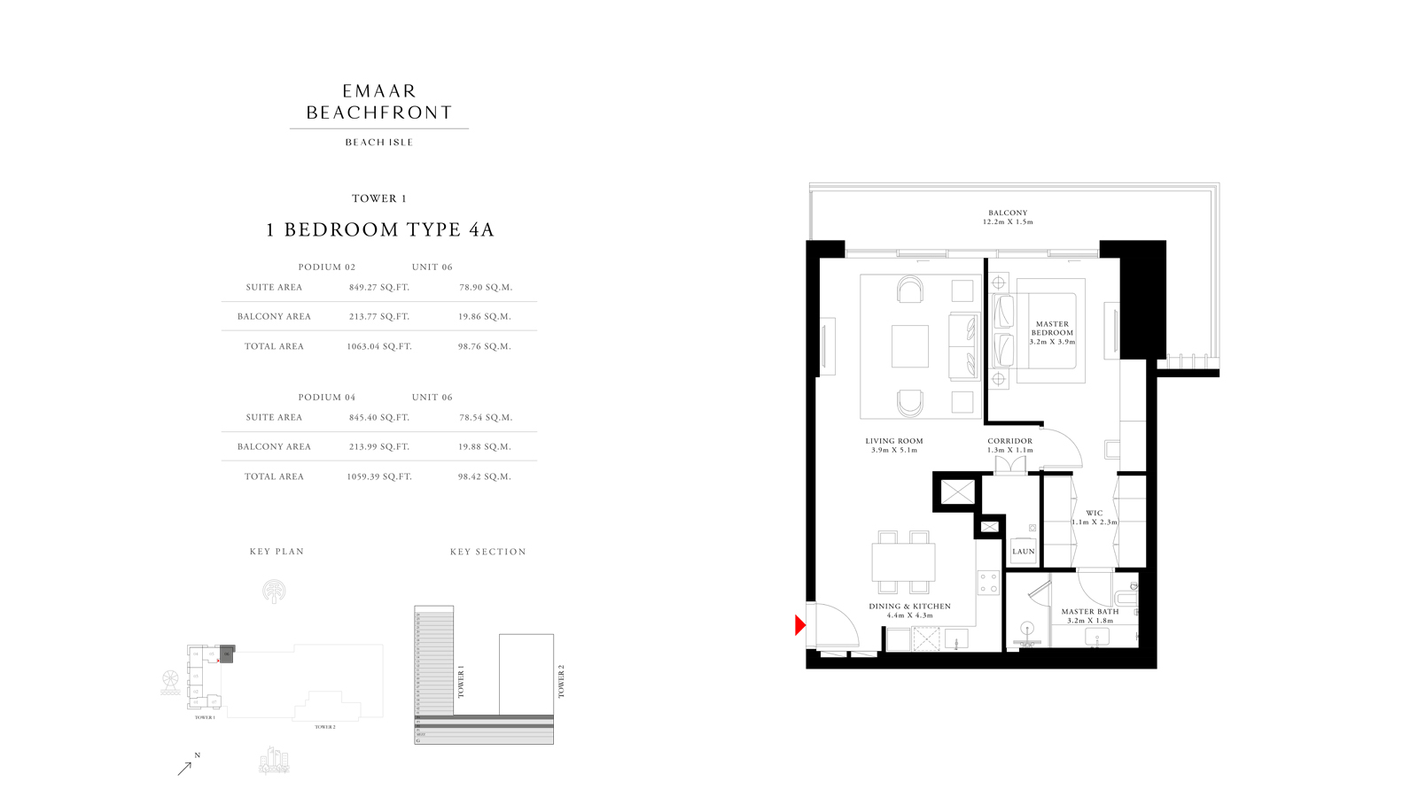 1 Bedroom Type 4A Tower 1, Size 1059    sq. ft.