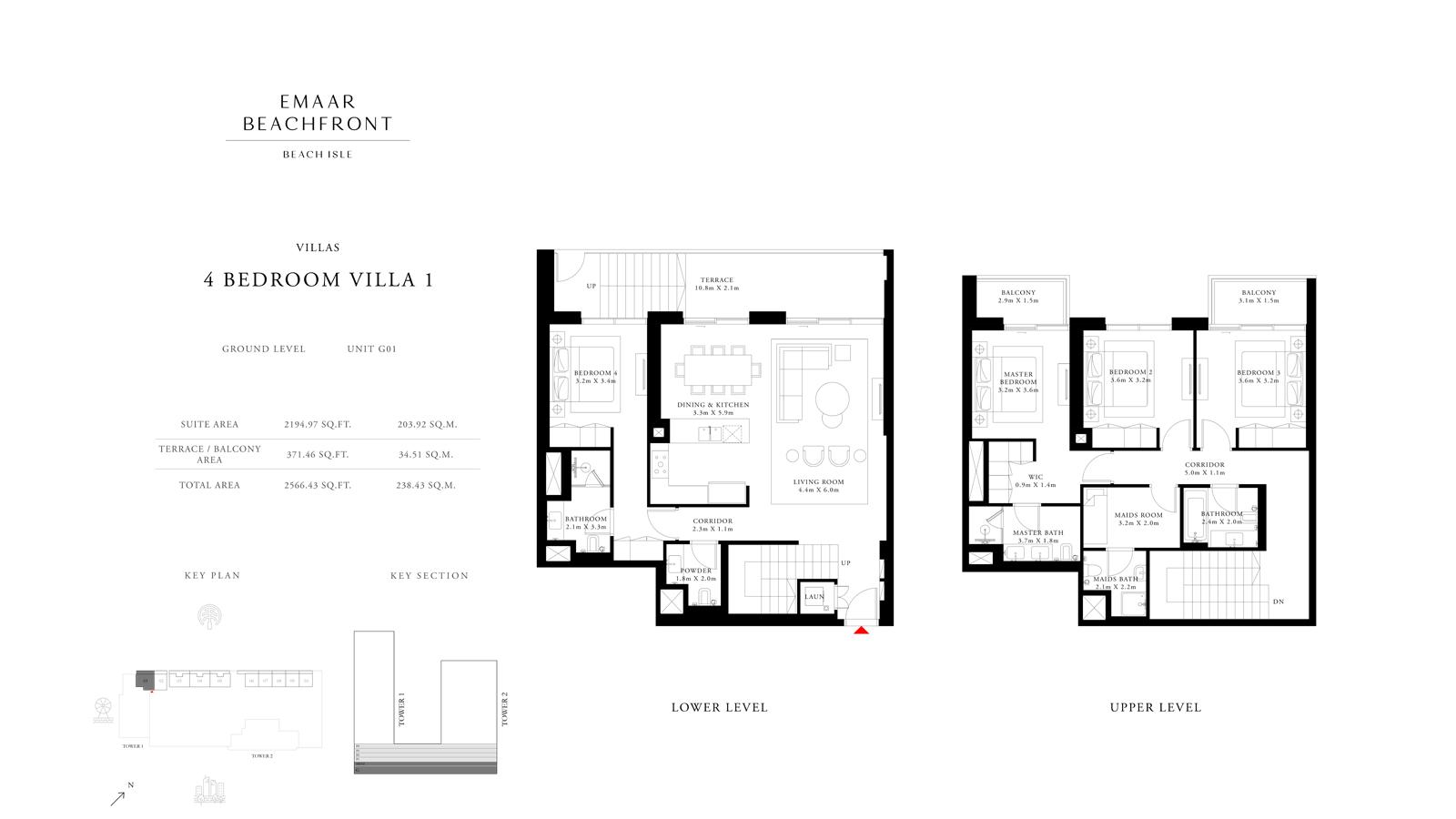 4 Bedroom Villas 1, Size 2566    sq. ft.