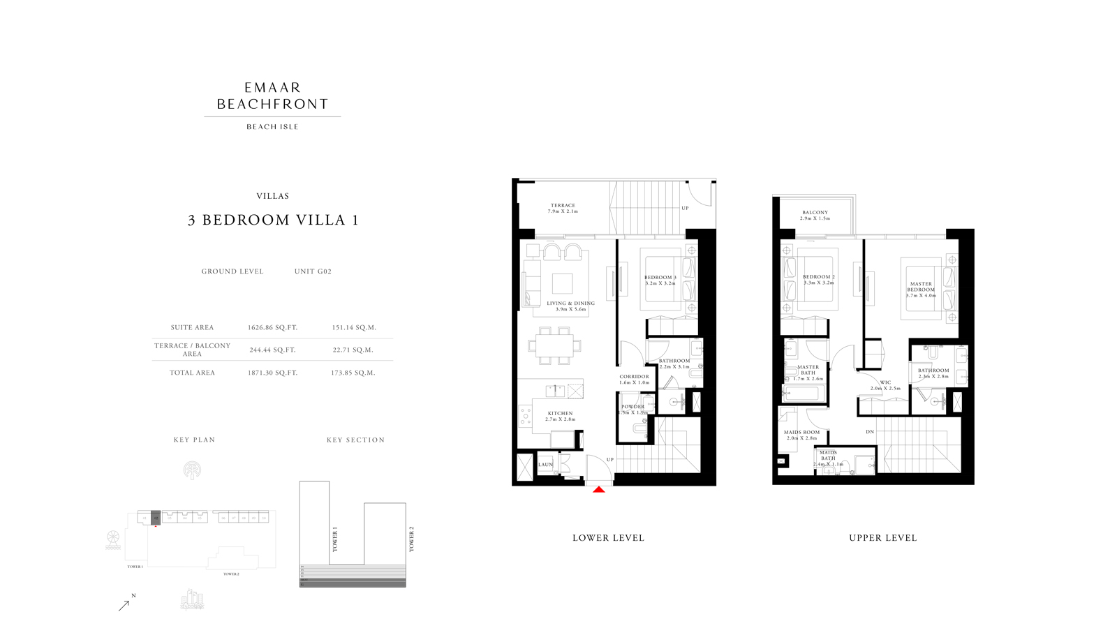 3 Bedroom Villas 1, Size 1871    sq. ft.