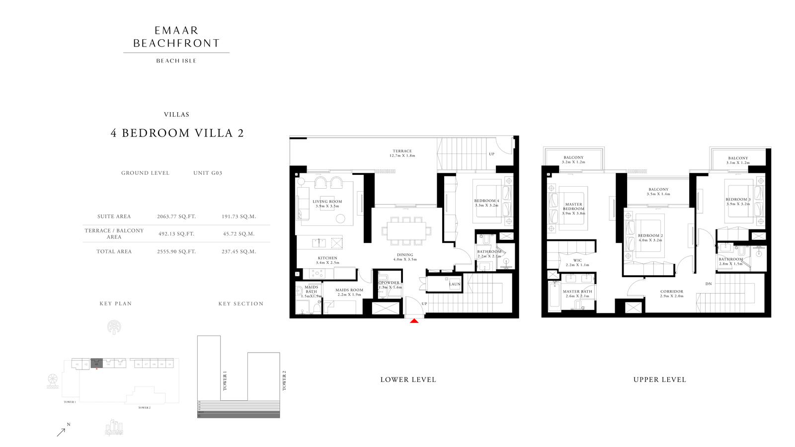 4 Bedroom Villas 2, Size 2555    sq. ft.